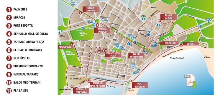 Карта движения паровозика в Таррагона